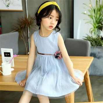 Girls dress Children's Clothing 2017 Spring and Summer kids baby cute floral half mesh Dress
