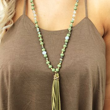 Keeps Me Happy Necklace: Olive/Multi
