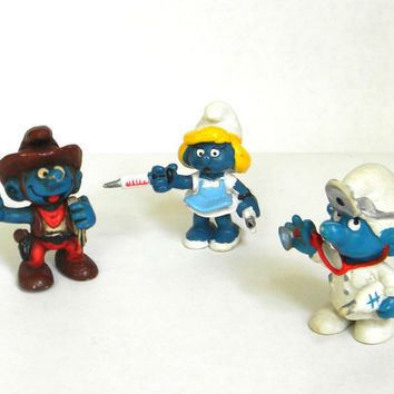 Smurf You      vintage Smurf figurines by Mylittlethriftstore