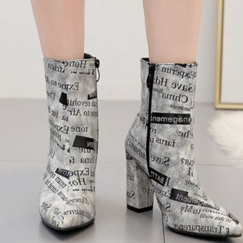 Hot style hot selling letter heel zipper ankle boots