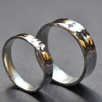 Wedding Band Set - Pond Ripple. Modern Contemporary Simple Sleek Elegant Design. Sterling Silver. Jewellery. Jewelry.
