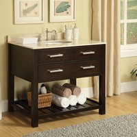 Modern cherry finish wood with open shelf bottom contemporary style wash basin sink and cabinet set with white marble top