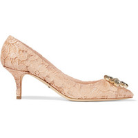 Dolce & Gabbana - Crystal-embellished corded lace and mesh pumps