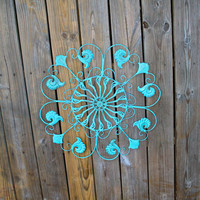 Metal Wall Fixture /Aqua Blue /Distressed Patio Decor /Painted Bright /Outdoor Up Cycled Iron Art