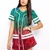 Ichiban Baseball Jersey Dress With Feather Varsity Festival Print