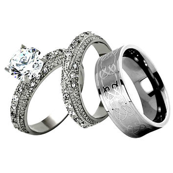 HIS HERS 3 PC WHITE STAINLESS STEEL TITANIUM WEDDING ENGAGEMENT RING BAND SET