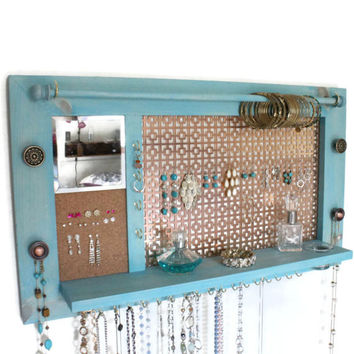 Jewelry Organizer - Jewelry Hanger - Wooden Wall Hanging Jewelry Shelf with Mirror