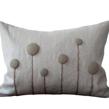 Neutral Taupe Billy Button Flower Pillow in Natural Linen by JillianReneDecor - Craspedia - Billy Ball - Minimal Spring Home Decor