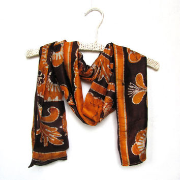 Silk scarf gold brown repurposed Indian batik saree by Patchtique