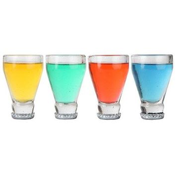 Lily's Home Set of 4 Upside Down Beer Bottle Neck Shot Glasses | Made of recycled Beer Bottles Glass