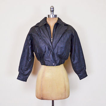 Vintage 80s Black Leather Jacket Motorcycle Jacket Moto Jacket Biker Jacket Bomber Jacket Crop Jacket Shrunken Tiny Fit XS Extra Small S