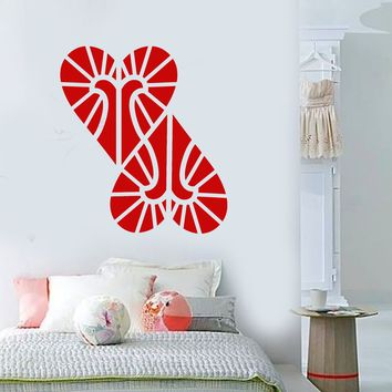Vinyl Wall Decal Abstract Geometric Two Hearts Love Stickers Unique Gift (1856ig)
