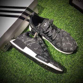 Sale Louis Vuitton LV x Adidas Consortium NMD R1 Black Sport Running Shoes Classic Casual Shoes Sneakers