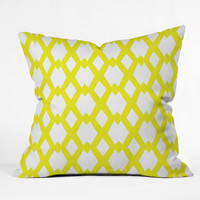 Lisa Argyropoulos Daffy Lattice Lemon Outdoor Throw Pillow