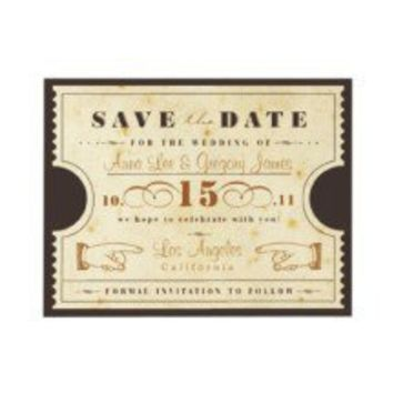 Vintage Ticket Save the Date Announcement
