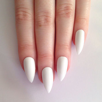 Matte White Stiletto nails, Nail designs, Nail art, Nails, Stiletto nails, Acrylic nails, Pointy nails, Fake nails
