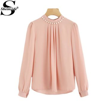 Pearl Beading Puff Sleeve Pleated Chiffon Pink High Neck Long Sleeve Elegant Blouse