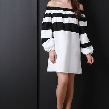 Off The Shoulder Stripe Shift Dress