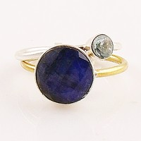 Blue Topaz & Sapphire Sterling Silver Two Tone Stack Ring