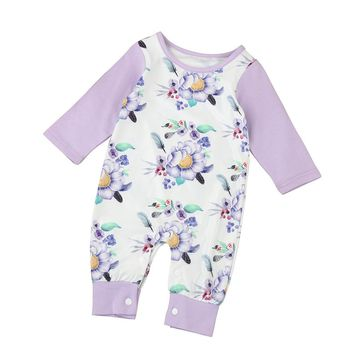 6-24M Floral Long-sleeve/Pants Romper