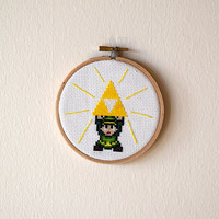 Framed Link and Triforce Cross Stitch | Zelda Inspired Framed Needlepoint | Finished 4x4 Video Game Cross Stitch | 4 inch Wooden Hoop Art