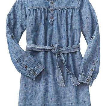 Gap Girls Factory Print Chambray Dress