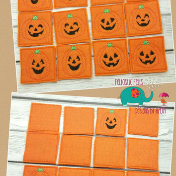 Pumpkin matching game embroidered, educational, montessori, memory, matching, learning, halloween, holiday game