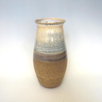 Tall ceramic vase, blue and brown, unique handmade vase, large pottery vase, ceramic gift