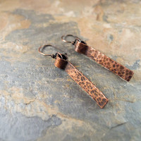 Hammered Copper Bar Earrings Antiqued Copper Sundance Style Minimalist Jewelry Bohemian Jewelry Rustic Copper Earrings  Modern Earrings