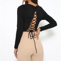 Black Long Sleeve Lace-Up Back Top