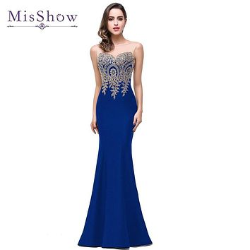 Cheap Mermaid New Royal Blue Rose Red Long Evening Dress 2017 Robe De Soiree Longue Formal Party Evening Gown In Stock