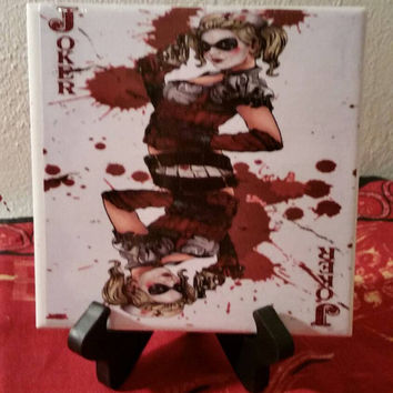 Batman's Arkham City's Harley Quinn ceramic drink coaster, wall art or decorative plate handmade DC comics