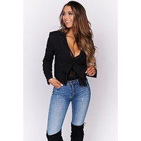 Cherish This Time Collared Blazer (Black)