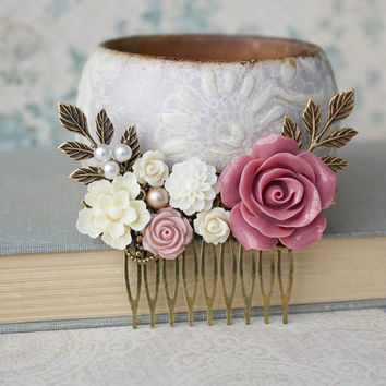Rose Hair Comb Dusty Rose Pink Rose Hair Accessories Vintage Style Wedding Ivory Cream Flower Comb Pearls Branch Leaves Bridal Hair Comb