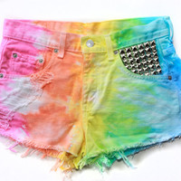 Vintage Rainbow dyed and studded Levi Shorts by VagrantVintageCo