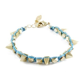 Sweetly Spiked Bracelet in Metallic Baby Blue