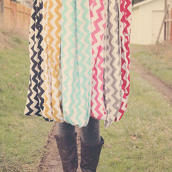 CHEVRON Infinity Loop Scarf your choice of color