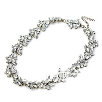 Silver Crystal Flower Choker Necklace