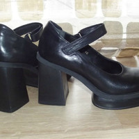 Vintage 90s HUGE Platform Mary Jane High Heel Pumps Shoes Babydoll Goth 9 Chunky