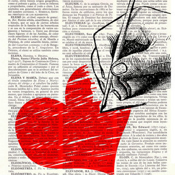 Upcycled Dictionary Page Upcycled Book Art Upcycled Art Print Upcycled Book Print Vintage Art Print Drawing hearts Print