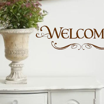 Welcome with Scrolls Vinyl Wall Decal Lettering Vinyl Wall Decor- Entryway- Welcome home- Home Decor