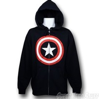 Captain America Symbol Zip Up Hoodie