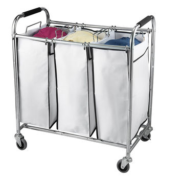 Saganizer Hamper with Wheels Rolling Cart Heavy Duty Triple Laundry Organizer/Sorter Chrome/White