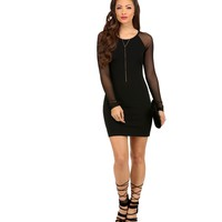 Black Catwalk Mesh Bodycon