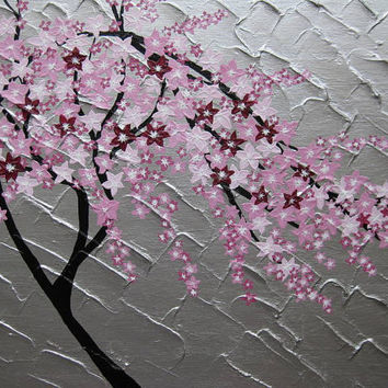 painting with pink cherry blossom- variety of sizes and colours available- feel free to suggest variations