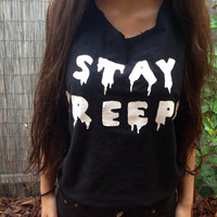 STAY CREEPY Top by CrookedYoungClothing on Etsy