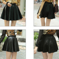 Women Faux Leather Mini Skirt High Waisted Flared Pleated Black Skater Short