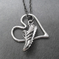 RUN WITH HEART Open Heart Necklace  Running Necklace by TheRunHome