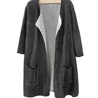 Black Open Front Cardigan With Pockets