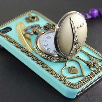 Eiffel Tower Pocket Watch ,love heart ,golden feather, flower,light green hard case --for iPhone 4 Case, iPhone 4s Case, iPhone 4 Hard Case